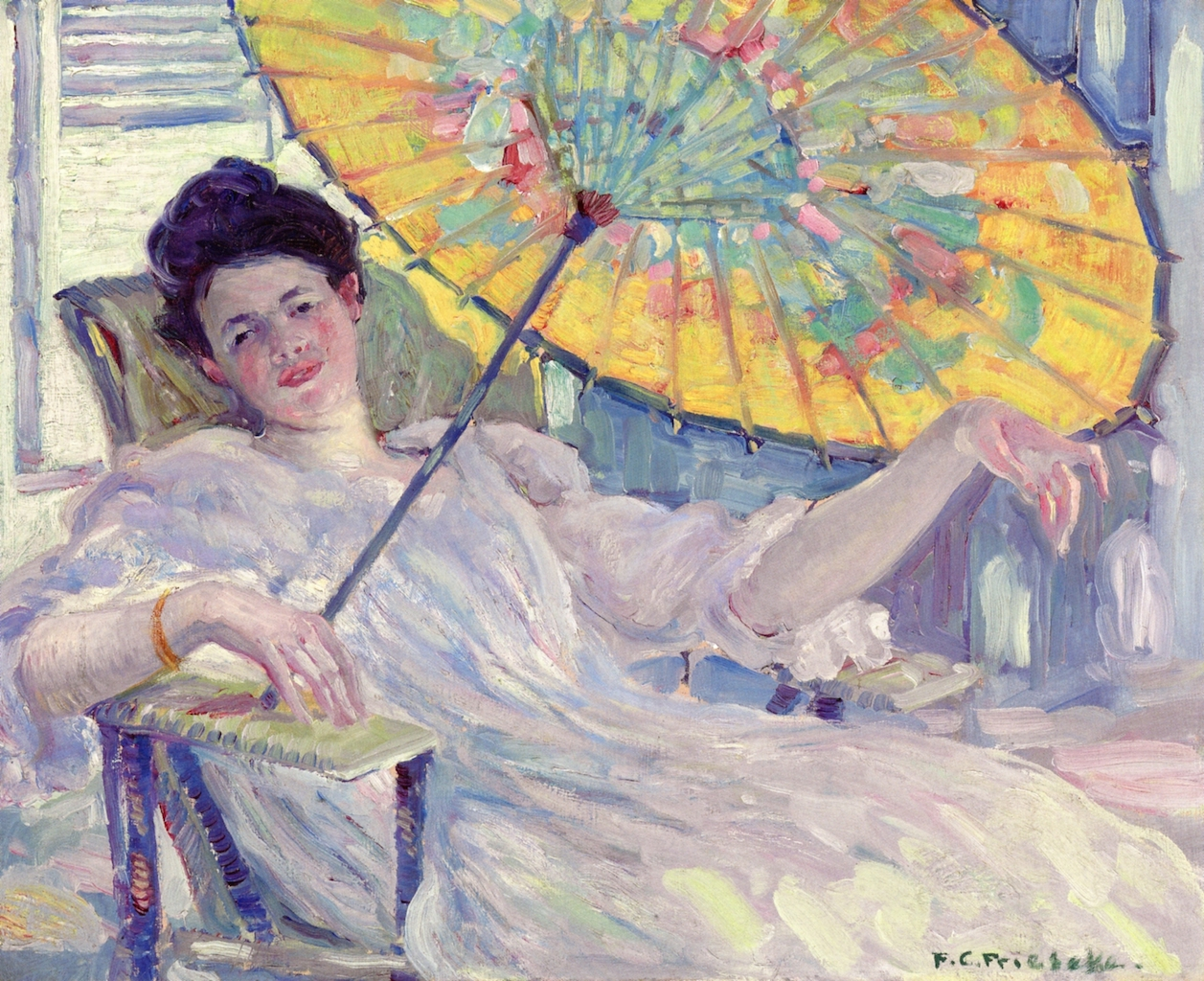 Woman with Parasol by Frederick Carl Frieseke, c. 1912