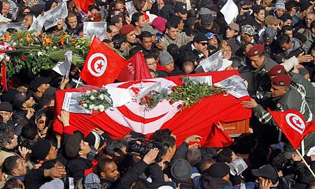 Funeral for Tunisian opposition leader Chokri Belaid on Feb. 8, 2013. A general strike hit the country on the same day as the burial of the assassinated activist who was a staunch critic of the Islamist government. by Pan-African News Wire File Photos