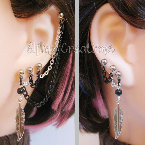 Silver and Black Feather Chain Cartilage Earrings