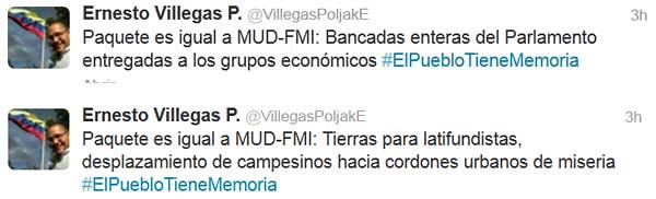 Twitter Ministro Villegas
