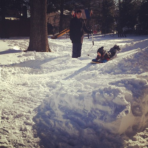 Aunt R & Uncle E escaped the city for a visit and built a sledding hill. Hours of entertainment.