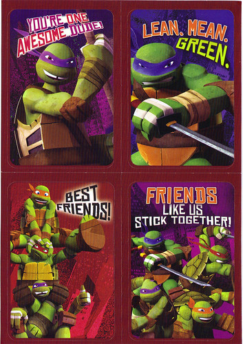 "AMERICAN GREETINGS :: ""NICKELODEON"" TEENAGE MUTANT NINJA TURTLES - VALENTINE STICKER CARDS iii (( 2012 ))"