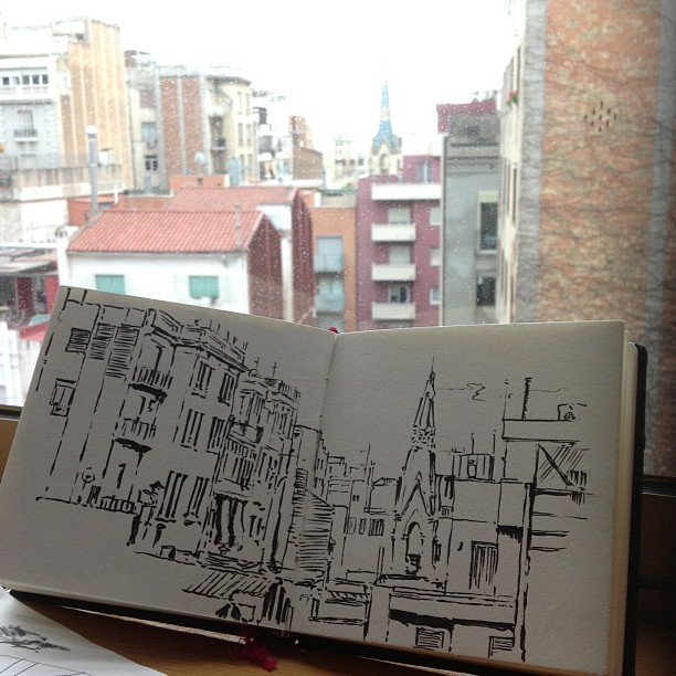 Bcn, hotel window ( pentel pocket brush)