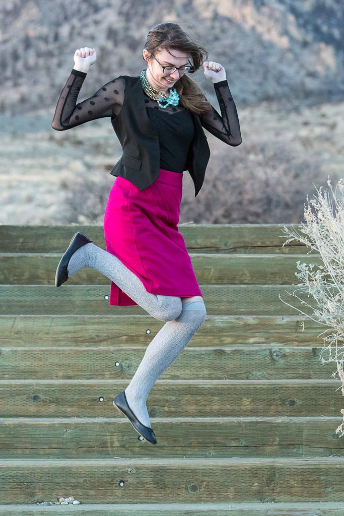 Magenta Pencil Skirt