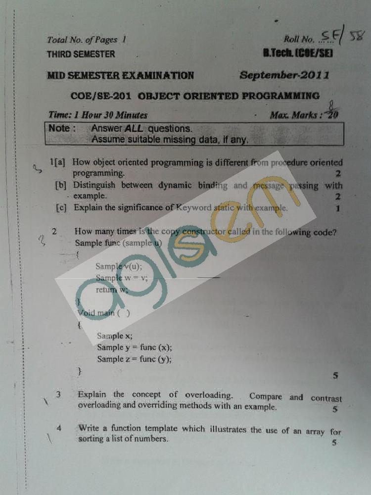 DTU Question Papers 2011 - 3 Semester - Mid Sem - COE-SE-201