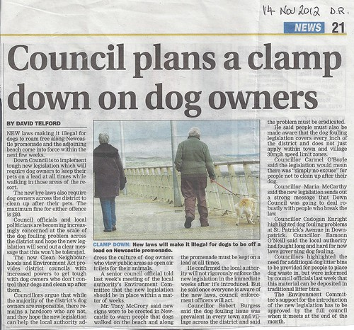 Dog Fouling bye-laws get tough 14th Nov 2012 by CadoganEnright