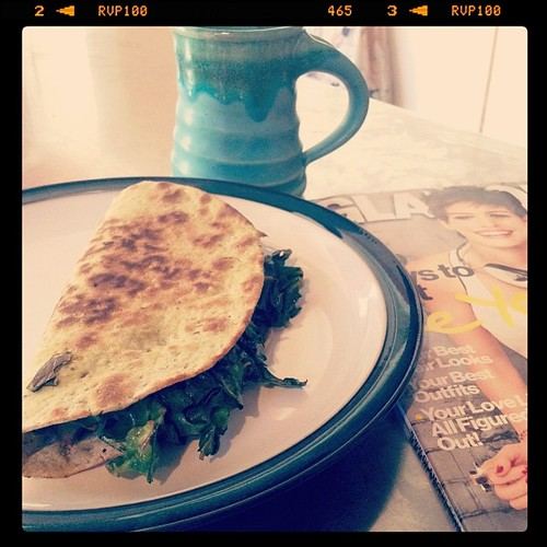 Mmmm... chard quesadilla for breakfast.