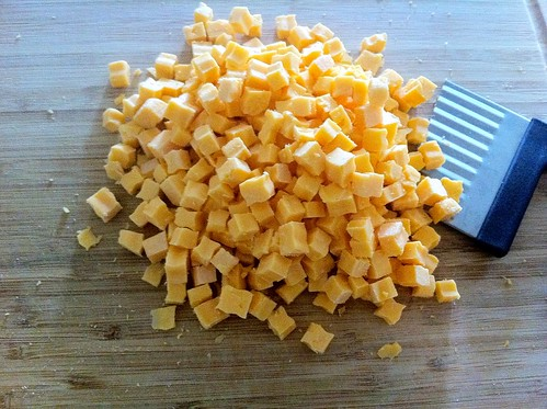 Pile of Cubed Yellow Cheddar Cheese