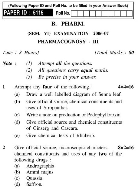 UPTU B.Pharm Question Papers PHAR-364 - Pharmacognosy-III