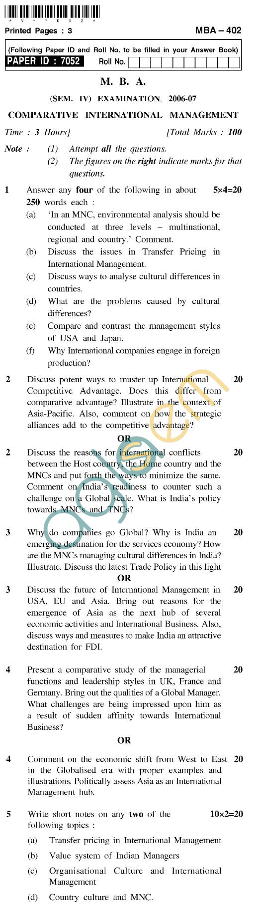UPTU MBA Question Papers - MBA-402-Comparative International Management