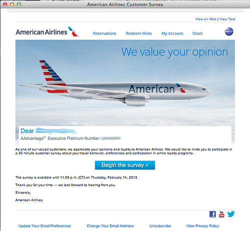 American Airlines Survey