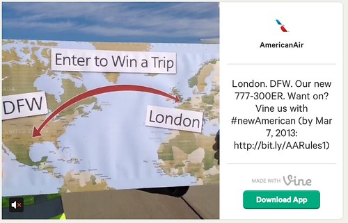 American Airlines Vine Promotion