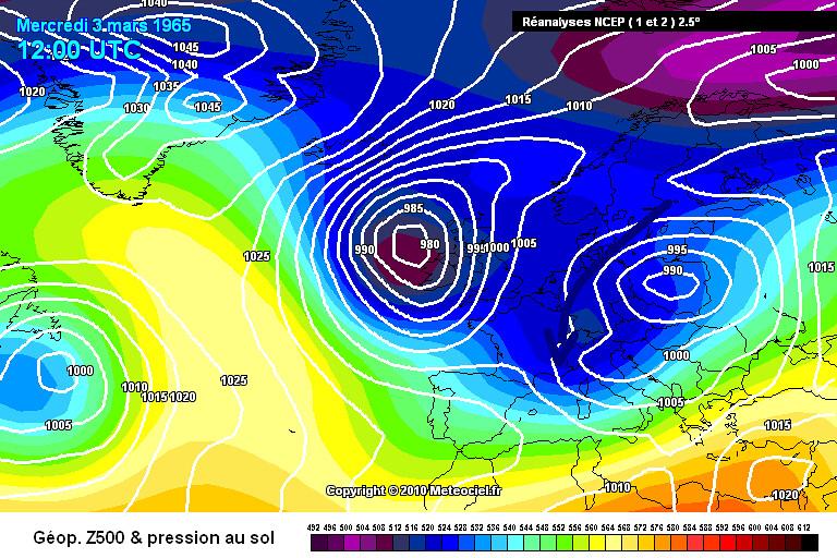 carte de situation du record mensuel absolu de froid à Mouthe le 4 mars 1965 météopassion