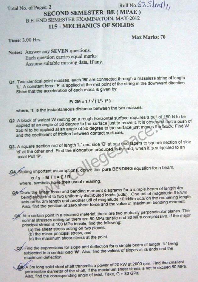 NSIT Question Papers 2012 – 2 Semester - End Sem - MA-115