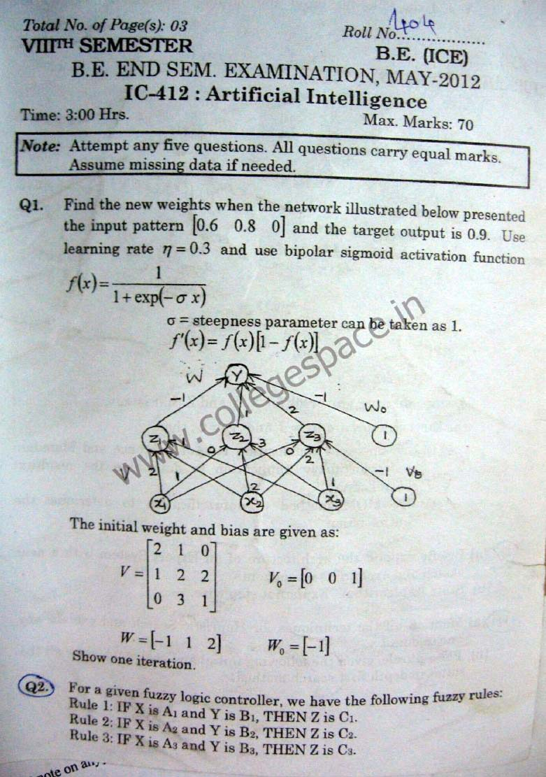 NSIT Question Papers 2012 – 8 Semester - End Sem - IC-412
