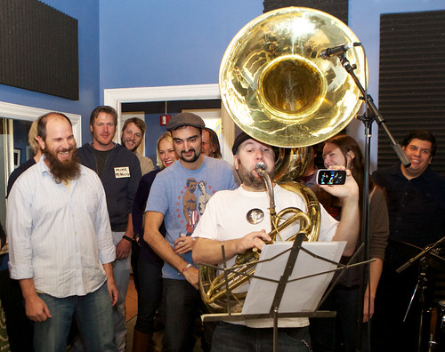 The WWOZ Choir backs up Jon Gross of the Wazozo Orchestra.