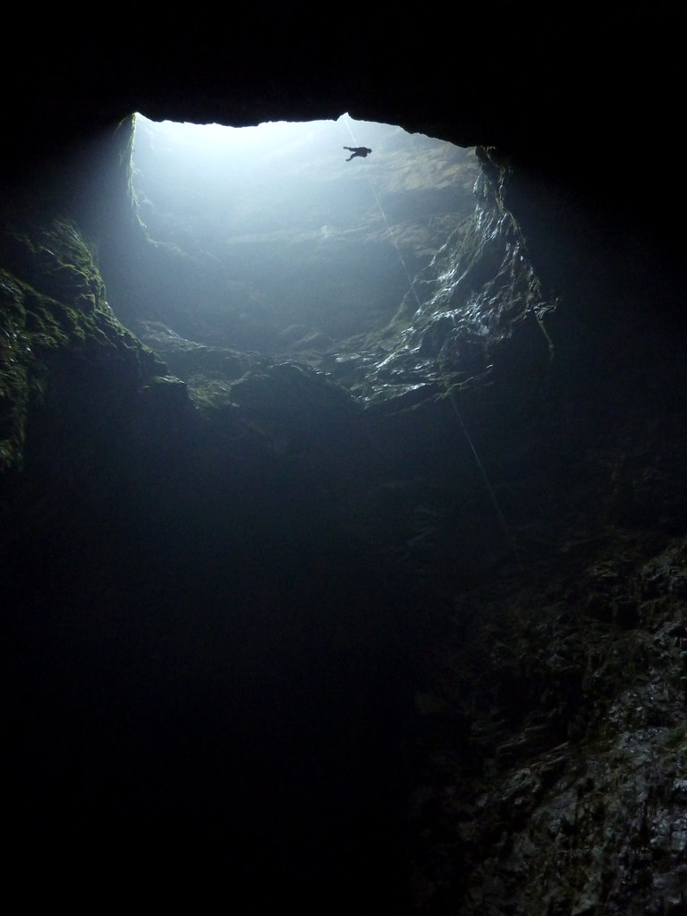 Descending the 176 metre pitch into Harwood's Hole
