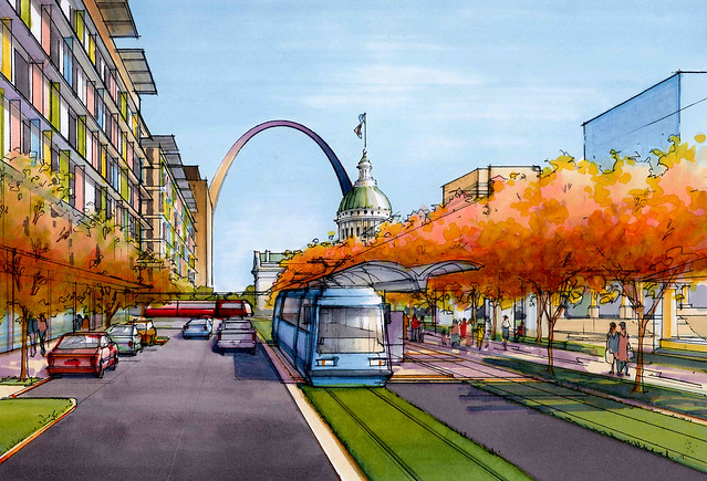 Artist drawing of St. Louis Streetcar