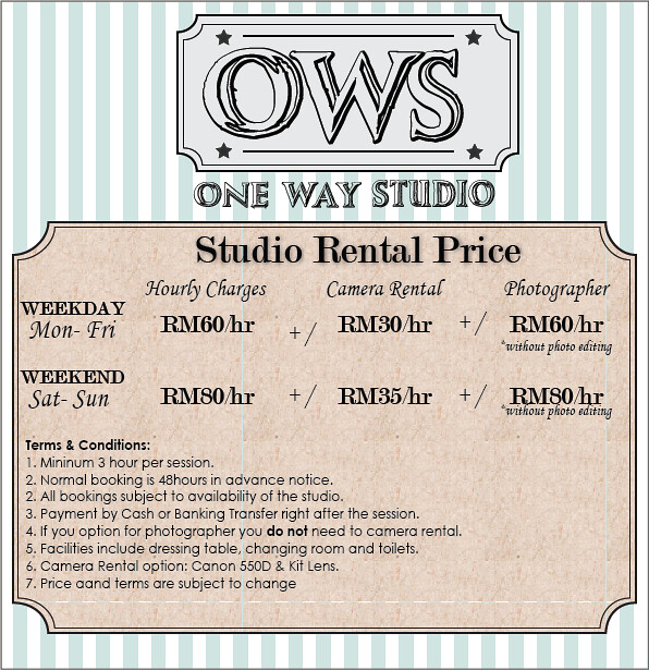 Onewaystudio-pricelist