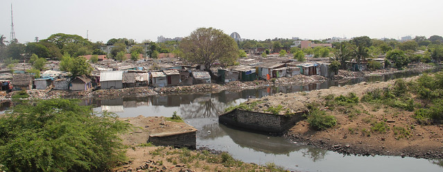 Houses along the Cooum near Island ground