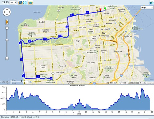 Map of 22 mile run