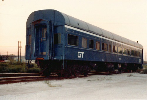 A Grand Trunk Western Railroad business car parked at the soon to be closed GTW Elsdon Yard.  Chicago Illinois.  August 1983. by Eddie from Chicago