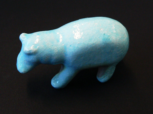 Faience glazed ceramic hippo printed using 3D print technology in UWE ceramic material on a ZCorp 510 3D printer