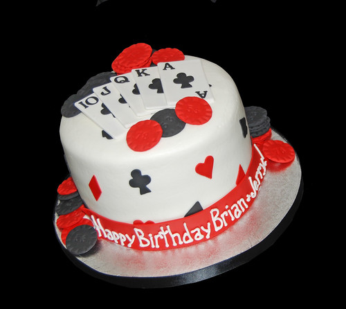 Poker themed birthday cake 53rd and 78th