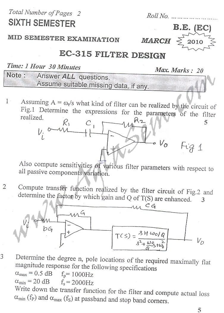 DTU Question Papers 2010 – 6 Semester - Mid Sem - EC-315