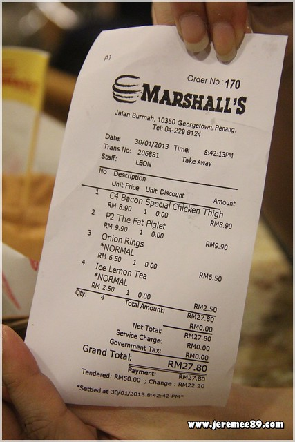 Marshalls Burger @ Burmah Road - Receipt