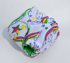 Newborn Hybrid Fitted Scribble Rainbow Green Inner Cotton Velour ]