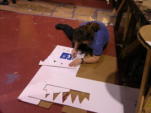 MayDay 2013 cutting cardboard