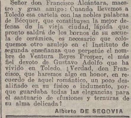 """Elegía a Ventura Reyes Prósper por Alberto de Segovia titulada """"Elegía en mala prosa"""" publicada en La Acción el 20 de diciembre de 1922 (V)"""