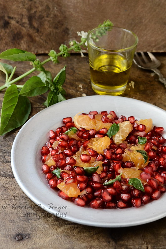 Pomegranate, Orange, Basil Salad