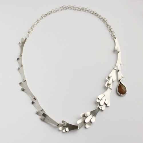 Linked Desert Lichen Necklace with sapphire drop