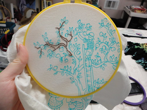 Work in progress - Apple Harvest embroidery, pattern from Bustle and Sew