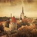 Retro style panoramic view of Tallinn old city center