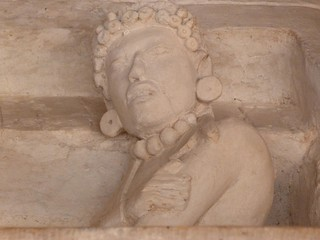 Escultura en ruinas mayas de Ek Balam (México)