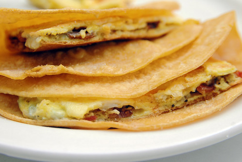 recipe: bacon and blue cheese breakfast tortillas.