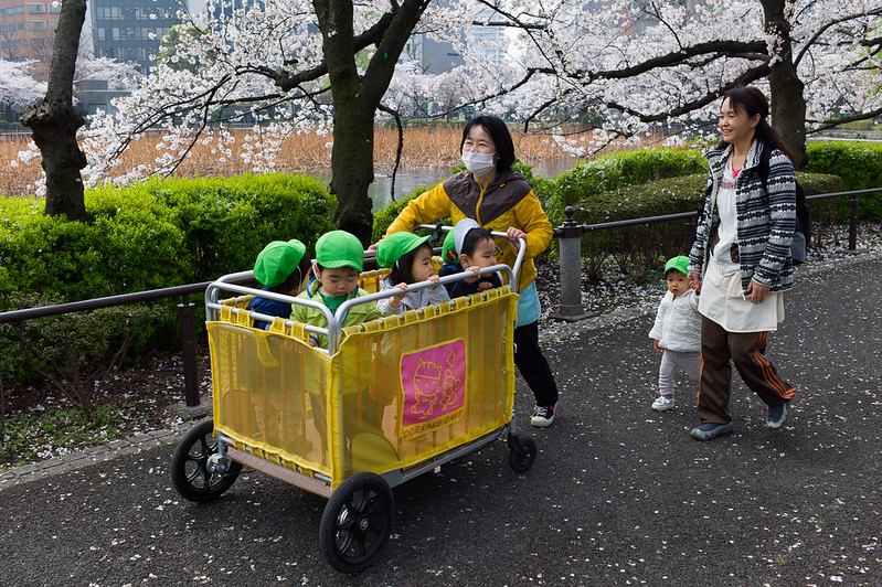 Kids ferried in what looks like a giant sized trolley in Ueno Park. This certainly looks like a convenient way to bring kids around!