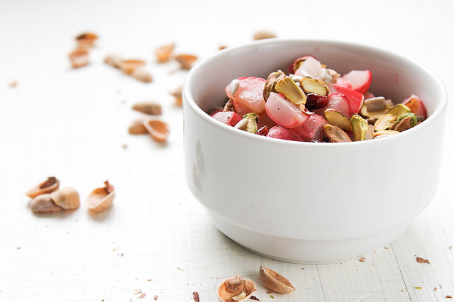 Roasted Radish, Dried Fruit and Pistachio Salad