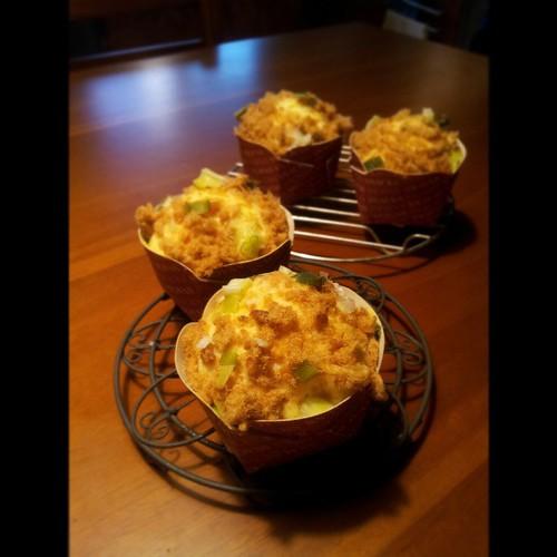20130424 孩子們的點心 蔥花肉鬆蒸蛋糕。(沒有烤箱就用蒸的吧!)