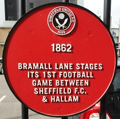 Photo of Bramall Lane, Sheffield Football Club, and Hallam Football Club red plaque