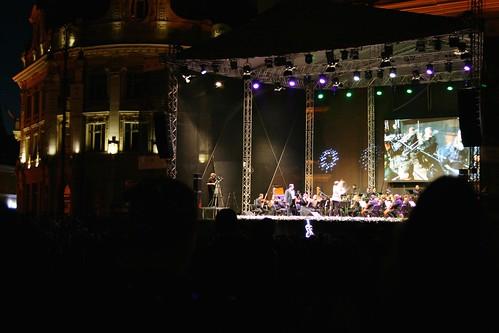 sibiu hermannstadt nagyszeben transylvania siebenbürgen erdély romania românia europe piaţamare groserring city town concert stage outdoor classic