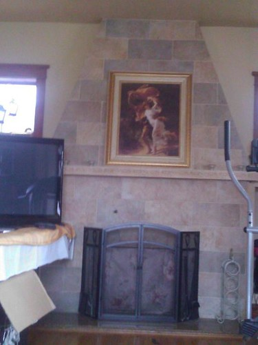 Porcelain tile brick pattern fireplace