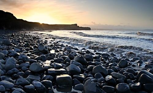 sunset beach water coast waves rocky somerset cliffs pebble shore intertidal jurassic foreshore bristolchannel kilve rockpavement lilstock sssi bridgwaterbay