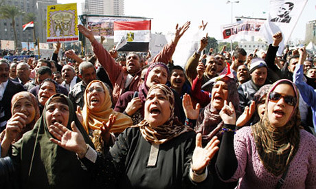 Egyptians took to the streets again on Feb. 8 in protest against the Freedom and Justice Party government of Mohamed Morsi. Events in neighboring Tunisia and Egypt illustrate that the aims of the Revolutions are by no means being met. by Pan-African News Wire File Photos