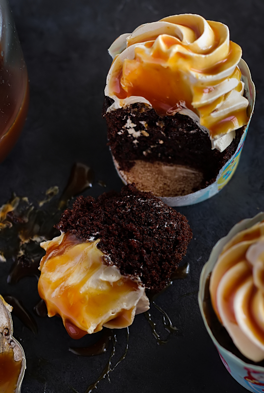 Chocolate Buttermilk Cupcakes with Earl Grey Buttercream & Salted Caramel