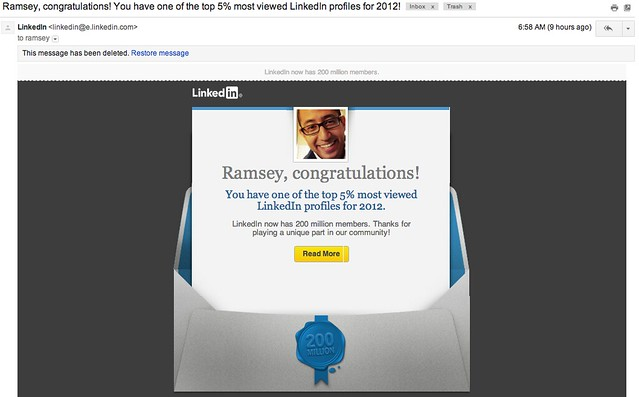 Ramsey Mohsen's LinkedIn Top 5% Email (using this for a blog post)
