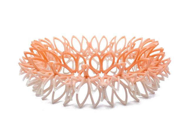 Budding flowers bangle in peach/ecru